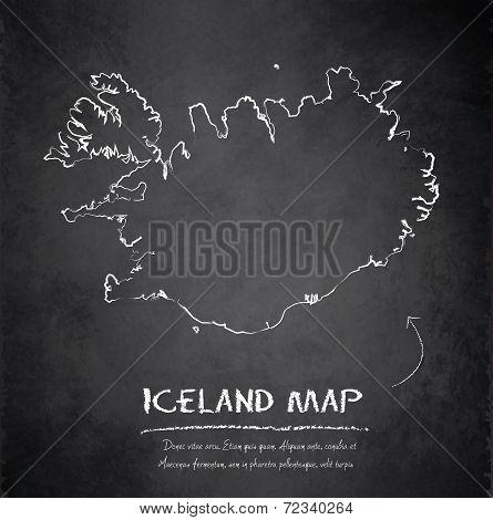 Iceland map blackboard chalkboard vector