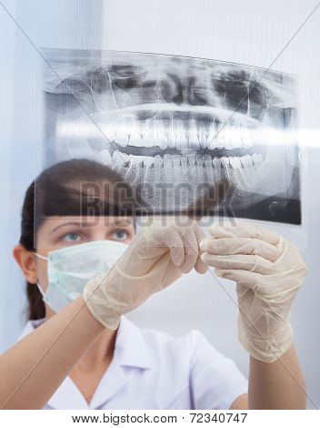Stomatologist Pointing At Jaw Xray