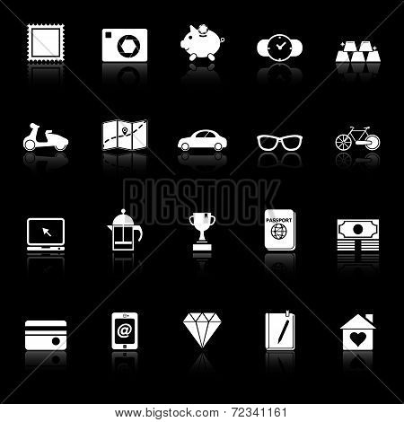The Useful Collection Icons With Reflect On Black Background