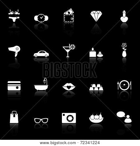 Lady Related Item Icons With Reflect On Black Background