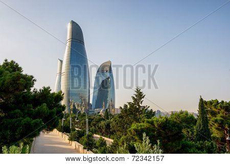 Baku, Azerbaijan - July 24:city View Of The Capital Of Azerbaijan, On July 24, 2014, With Great Mode
