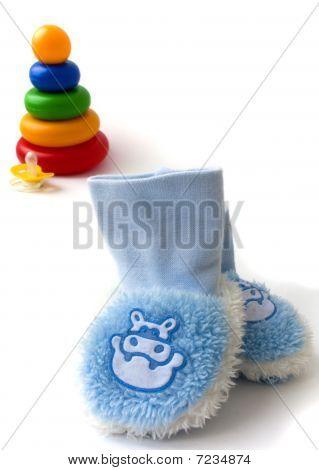 Children's pyramid, dummy and socks