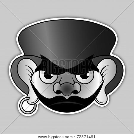 Sticker - Evil Pirate With Hat And Earrings