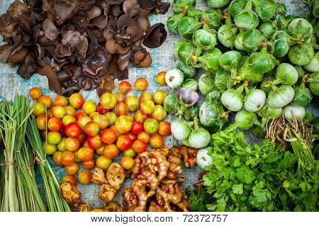 Fresh Organic Vegetables, Herbs And Spices At Asian Market