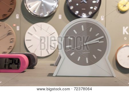 Clocks On Display At Homi, Home International Show In Milan, Italy