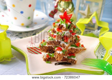 Christmas Tree Made From  Bread With Cheese And Chive