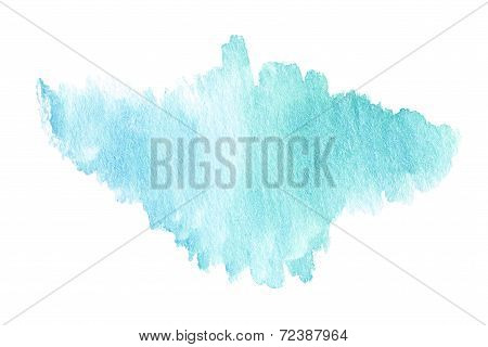 Watercolor Stains Isolated On White. Watercolor Wet Background. Bright Cyan Blue Watercolor Backgrou