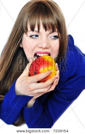 Woman Eating Red Apple