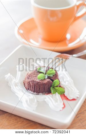 Chocolate Lava Cake With Fork And Coffee Cup