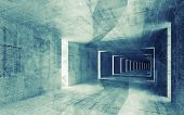 3d render green blue toned abstract empty concrete interior background poster