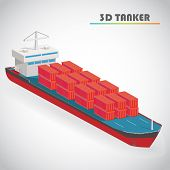 Isometric tanker with freight container icon vector illustration poster