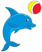 Vector clip-art of a funny dolphin playing with a ball poster