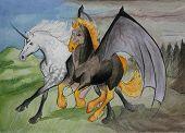 A strange friendhip between a dappled grey arabian unicorn and a firey nightmare poster