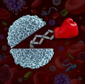 Immune system concept as an open white blood cell with a boxing glove emerging as a health care metaphor for fighting disease and infection through the natural defense of the human body. poster