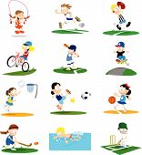 A collection of cartoon-style vector illustrations of kids playing a variety of sports. Note that if purchasing the vector it would be very easy to remove the small backgrounds for each character to best suit your requirements. poster