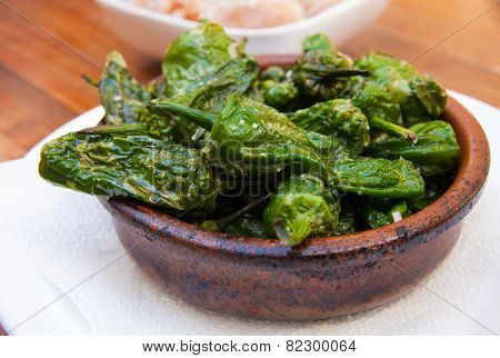 Pimientos De Padron - Portion Of Shallow Fried Chilli Peppers, With Sea Salt