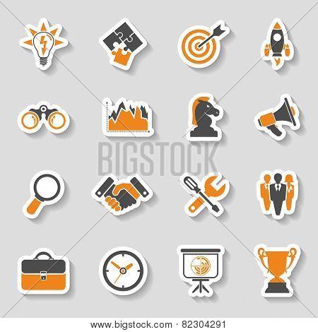 Business Strategy Icon Sticker Set