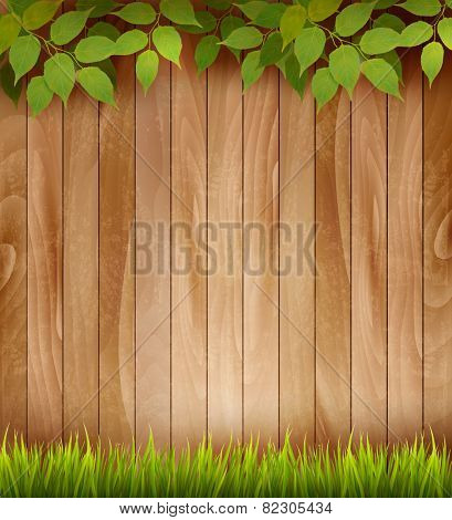 Natural wooden background with leaves and grass. Vector.