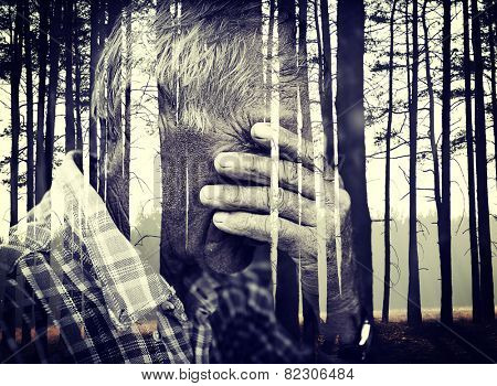 Double exposure of desperate senior man suffering and covering face with hands in deep depression, pain, emotional disorder, grief and desperation concept