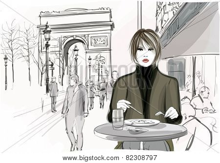 Pretty woman having a lunch at the Champs-Elysees avenue in Paris - Vector illustration
