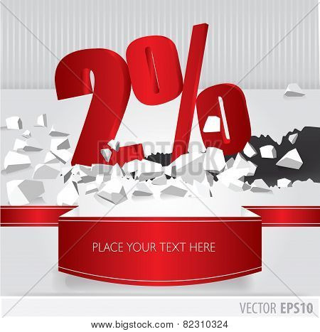 Red 2 Percent Discount On Vector Cracked Ground On White Background