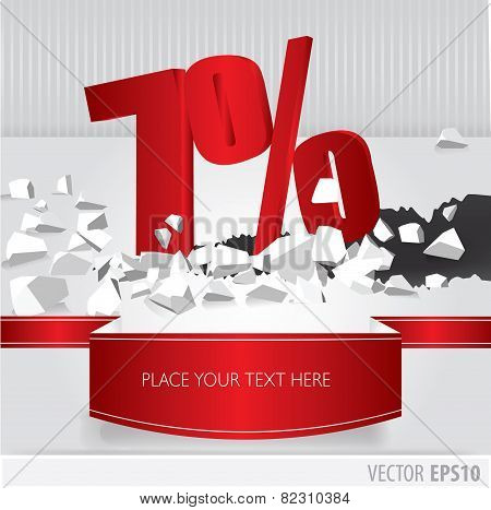 Red 7 Percent Discount On Vector Cracked Ground On White Background
