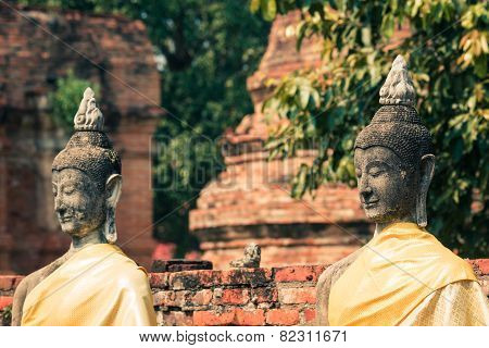 Ancient Buddha Statue At Wat Yai Chaimongkol In The Historical City, Ayutthaya, Thailand