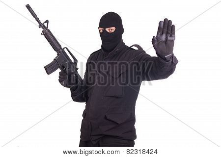 mercenary with CAR15 rifle isolated on white background poster