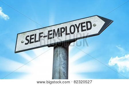 Self-Employed sign with a beautiful day