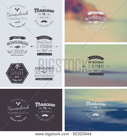 6 Hand Drawn Style Logos. Trendy Retro Vintage