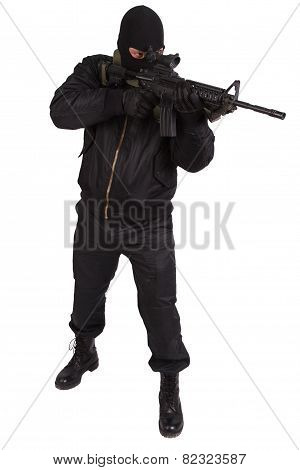 robber in black uniform and mask with m4 rifle isolated poster