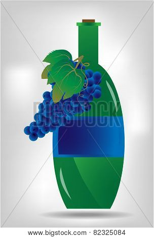 Green bottle of wine with blue grapes