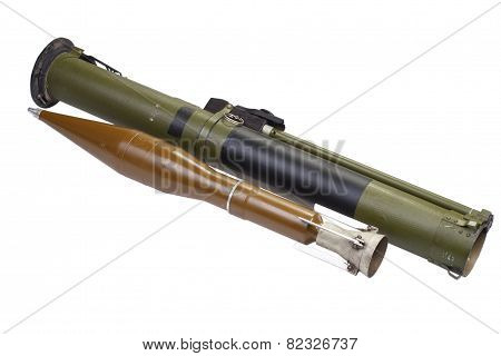anti-tank rocket propelled grenade launcher with HEAT grenade poster