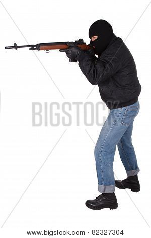Robber with M14 rifle isolated on white bacground poster
