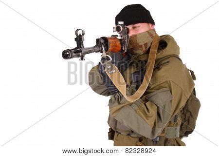 Mercenary Sniper With Svd Rifle