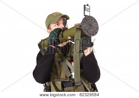 mercenary with bazooka gun isolated on white poster