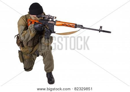 mercenary sniper with SVD sniper rifle isolated on white background poster