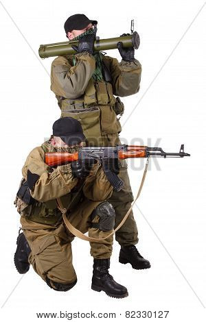 mercenaries with AK 47 and rocket launcher isolated on white background poster