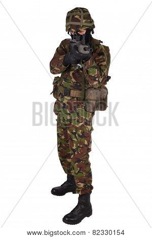 British Army Soldier in camouflage uniforms isolated on white poster