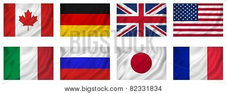 G8 Industrialized Countries Flags