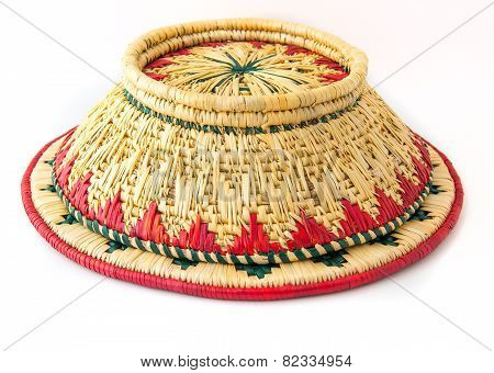 wicker basket upside down isolated