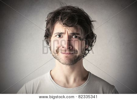 Man with a sarcastic expression
