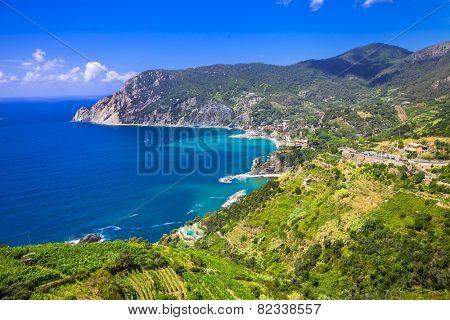 scenery of Ligurian coast- view of Monterosso al mare, Cinque te