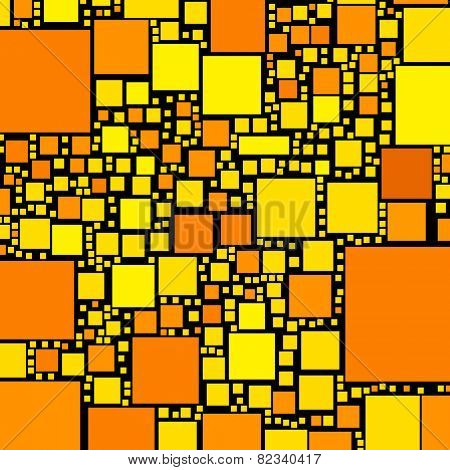 Golden, orange and yellow color squares on black illustration.