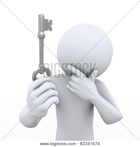 3D Man Holding And Looking At Key