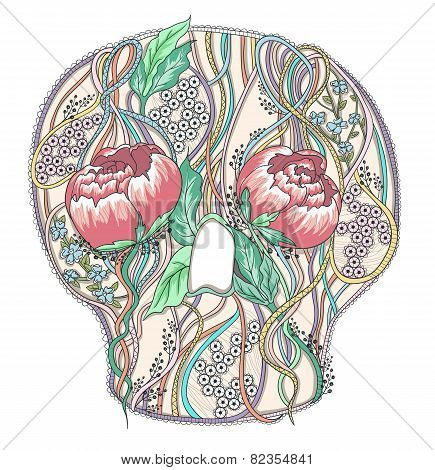 Abstract Skull With Peony Flowers. Floral Skull.