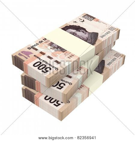 Mexican pesos isolated on white background. Computer generated 3D photo rendering.