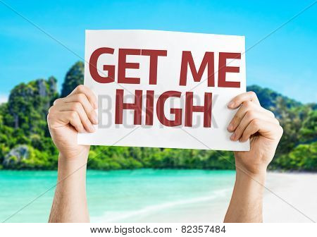 Get Me High card with beach background