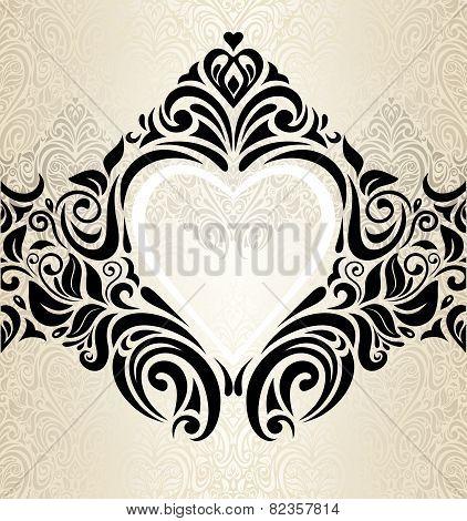 Vintage wedding gold, ecru & black fashionable invitation wallpaper background