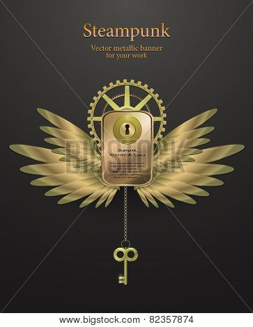 banner with gears in the form of metal wings. retro steampunk.